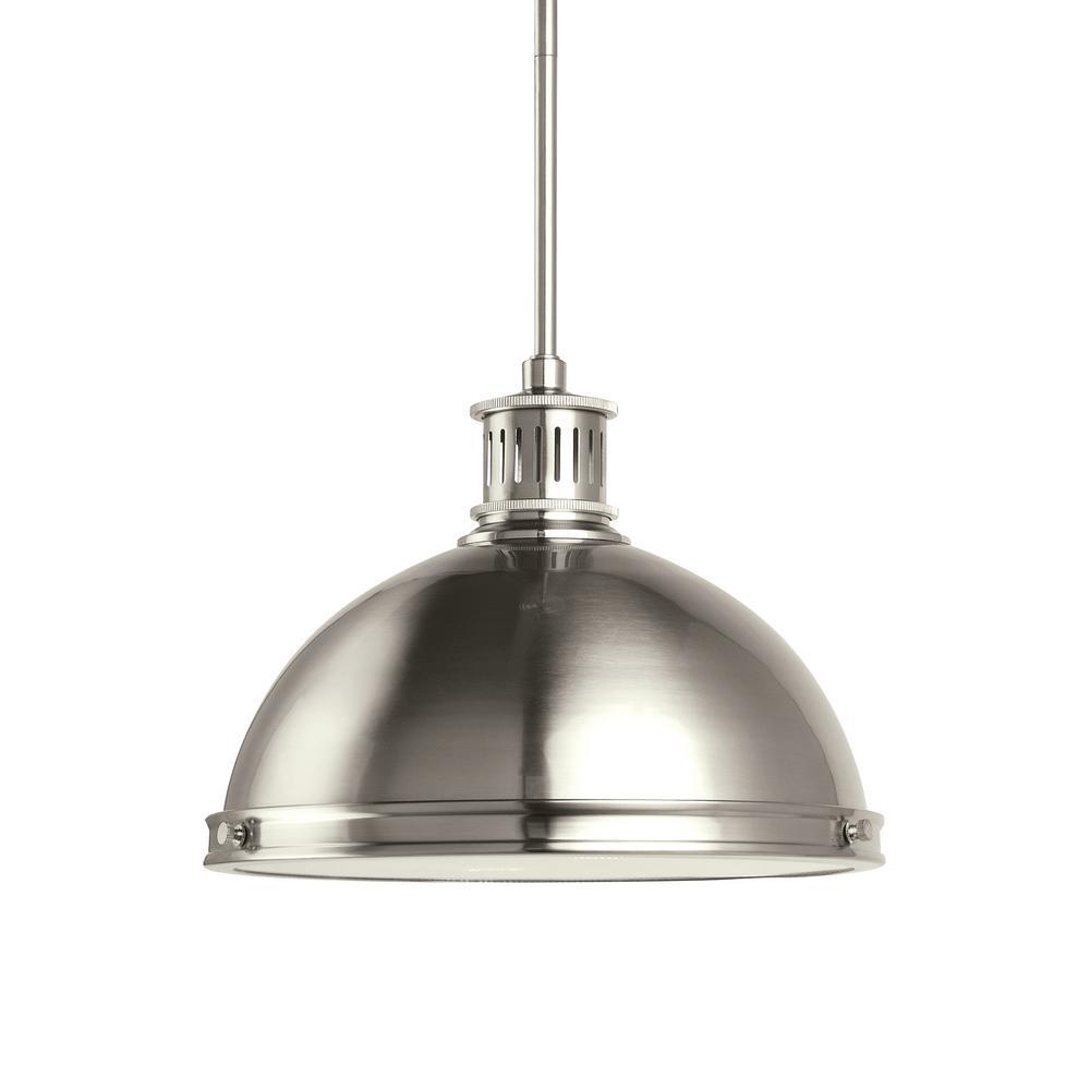 Pratt Street Metal 1-Light 13 in. 14-Watt Brushed Nickel Integrated LED Pendant