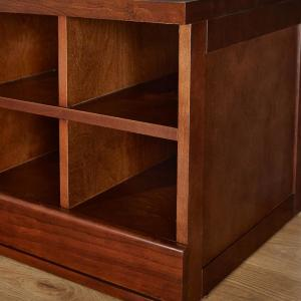 Smoke Brown Modular Cabinet with 2 Drawers Elegant Entryway Foyer Furniture Wood