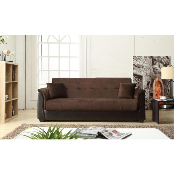 Champion Futon Chocolate Sofa Bed With Storage 72016 06ch The Home Depot
