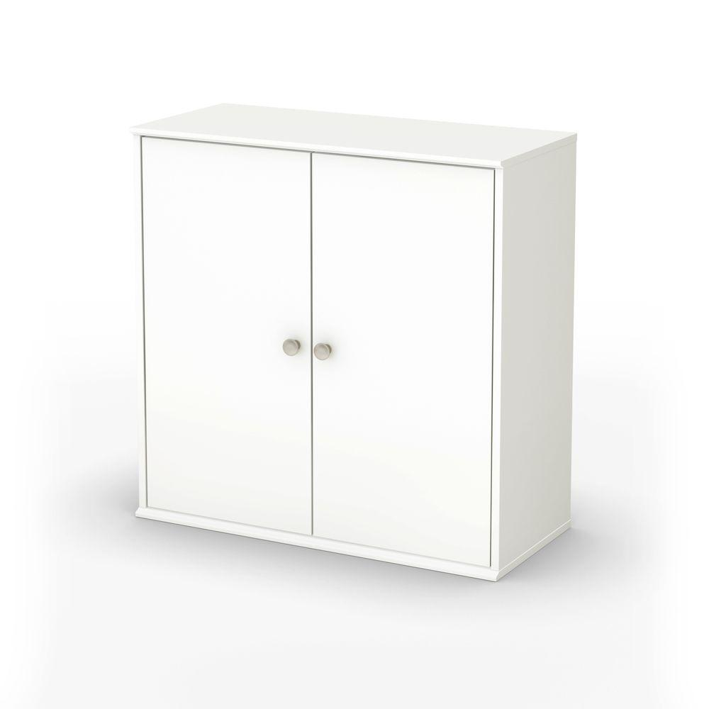 South Shore Stor It 4-Cubby Storage Unit with Doors in Pure White-DISCONTINUED