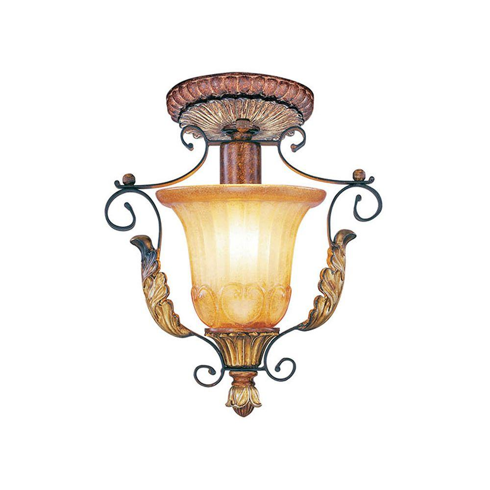 Livex Lighting Providence 1-Light Verona Bronze with Aged Gold Leaf Accents Incandescent Flush Mount