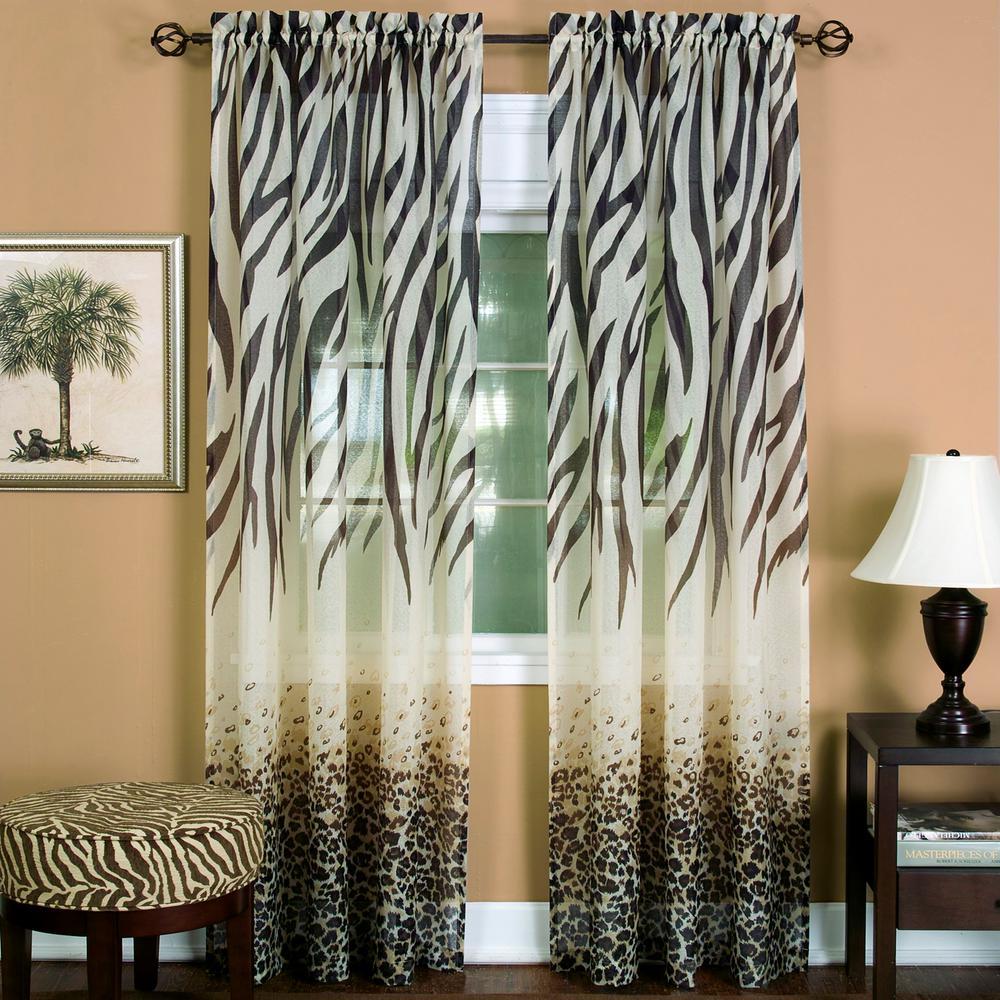 Semi-Opaque Brown Kenya Curtain Panel - 50 in. W x 63