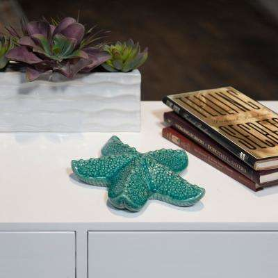 2.5 in. H Starfish Decorative Figurine in Red, Turquoise Gloss Finish