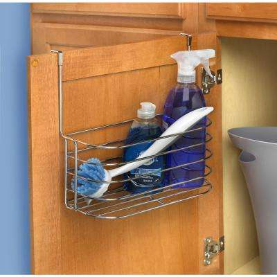 11 in. x 11.25 in. x 7.25 in. Steel Over the Cabinet Medium Basket and Towel Bar in Chrome