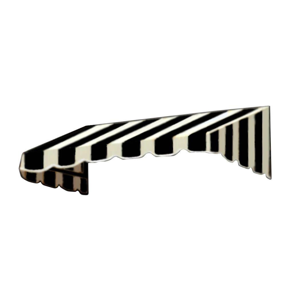 AWNTECH 10 ft. San Francisco Window/Entry Awning (44 in. H x 48 in. D) in Black/White Stripe