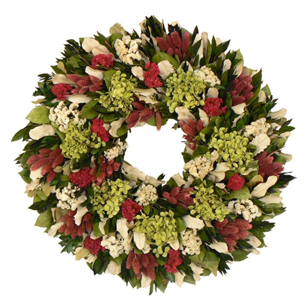 The Christmas Tree Company Ravishing with Raspberry 22 in. Dried Floral Wreath