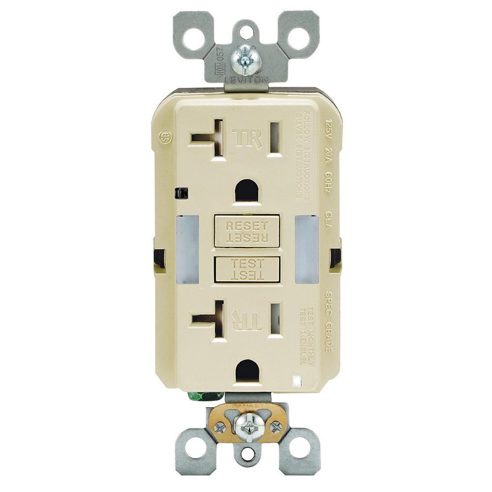 Leviton 20 Amp SmartlockPro Tamper Resistant GFCI Outlet with Guide Light, Ivory