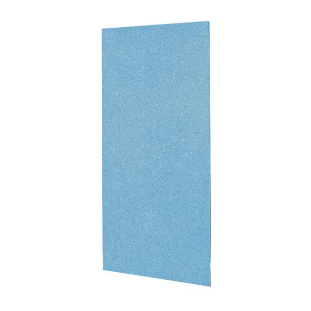 Swanstone 1/4 in. x 48 in. x 96 in. One Piece Easy Up Adhesive Shower Wall Panel in Tahiti Blue-DISCONTINUED