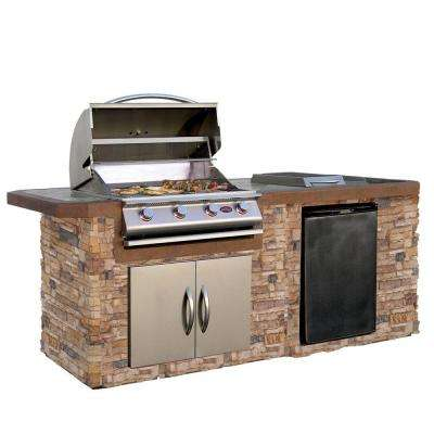 7 ft. Cultured Stone Grill Island with Tile Top and 4-Burner Gas Grill in Stainless Steel
