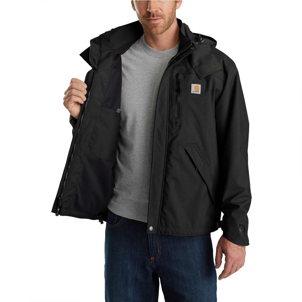 0207cf94e Carhartt Men'S Large Tall Black Nylon Shoreline Jacket WPB Nylon
