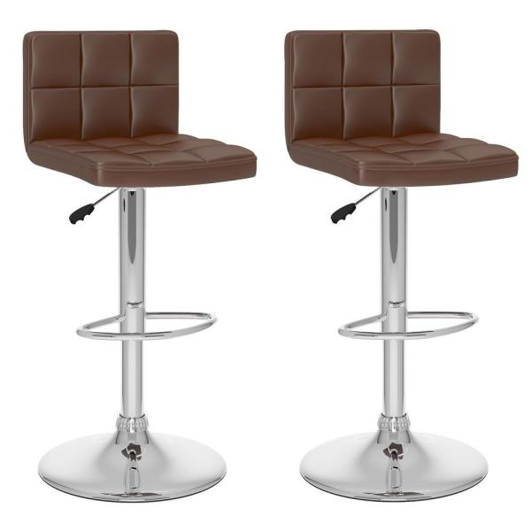 CorLiving Adjustable Brown Leatherette High Back Bar Stool (Set of 2)