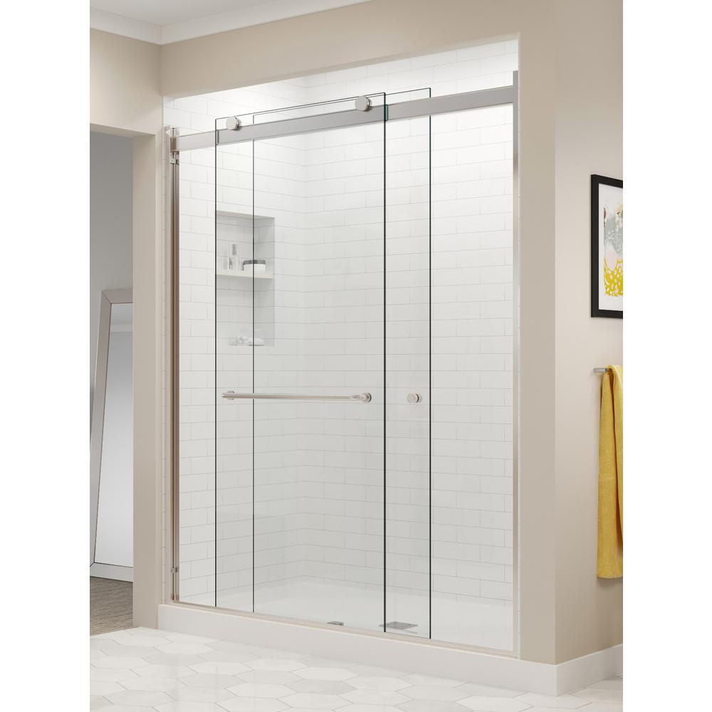 Basco Rotolo 52 in. x 70 in. Semi-Frameless Sliding Shower Door in Brushed Nickel with Handle
