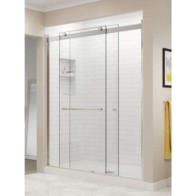 Rotolo 56 in. x 70 in. Semi-Frameless Sliding Shower Door in Brushed Nickel with Handle