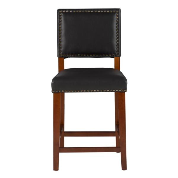 Linon Home Decor Brook 24 In Black Cushioned Bar Stool 0232blk01u The Home Depot
