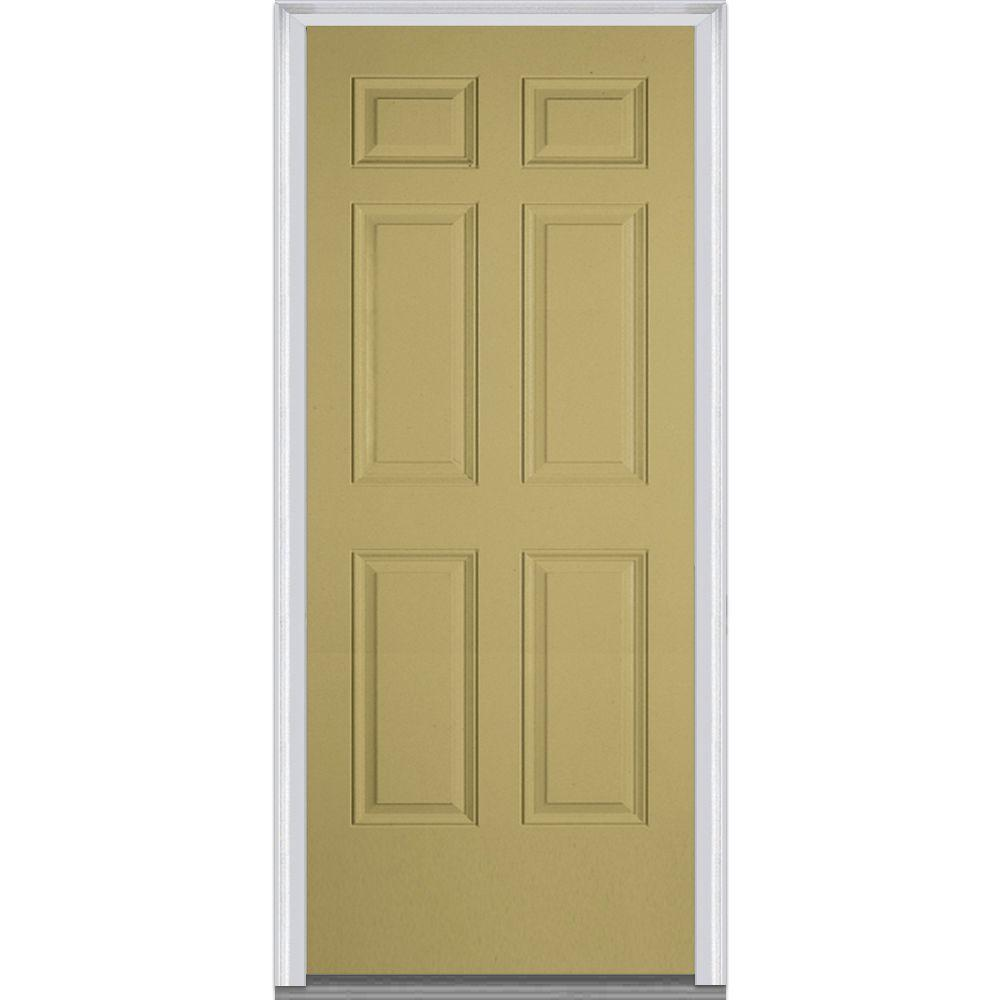 36 in. x 80 in. Left-Hand Inswing 6-Panel Classic Painted Fiberglass
