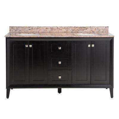 Austell 61 in. W x 38 in. H x 22 in. D Vanity in Black with Stone Effects Vanity Top in Santa Cecilia with White Sink