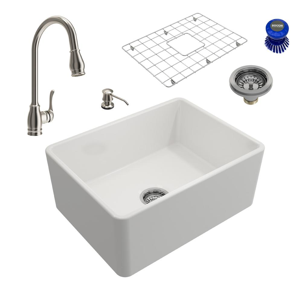 Classico All-in-One Farmhouse Fireclay 24in. Single Bowl Kitchen Sink with