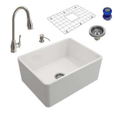 Classico All-in-One Farmhouse Fireclay 24in. Single Bowl Kitchen Sink with Belsena Brushed Nickel Faucet and Soap Disp