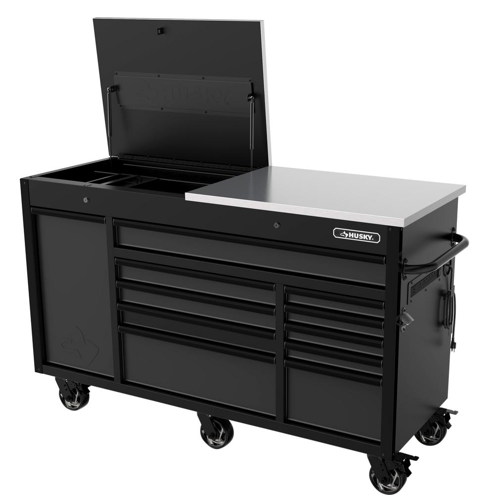 Husky Heavy Duty 63 In W 11 Drawer Deep Tool Chest Mobile Workbench In Matte Black With Flip Top Stainless Steel Top H63mwc11ft The Home Depot