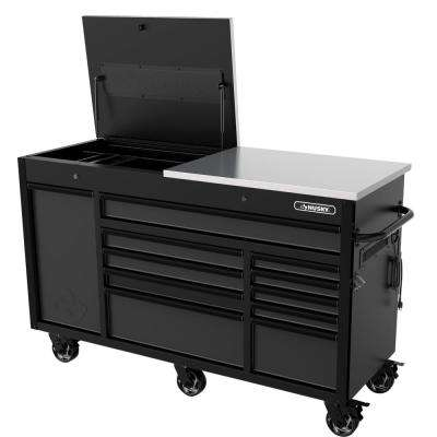 Heavy-Duty 63 in. W x 23 in. D 11-Drawer Tool Chest Mobile Workbench with Flip-Top Stainless Steel Top in Matte Black