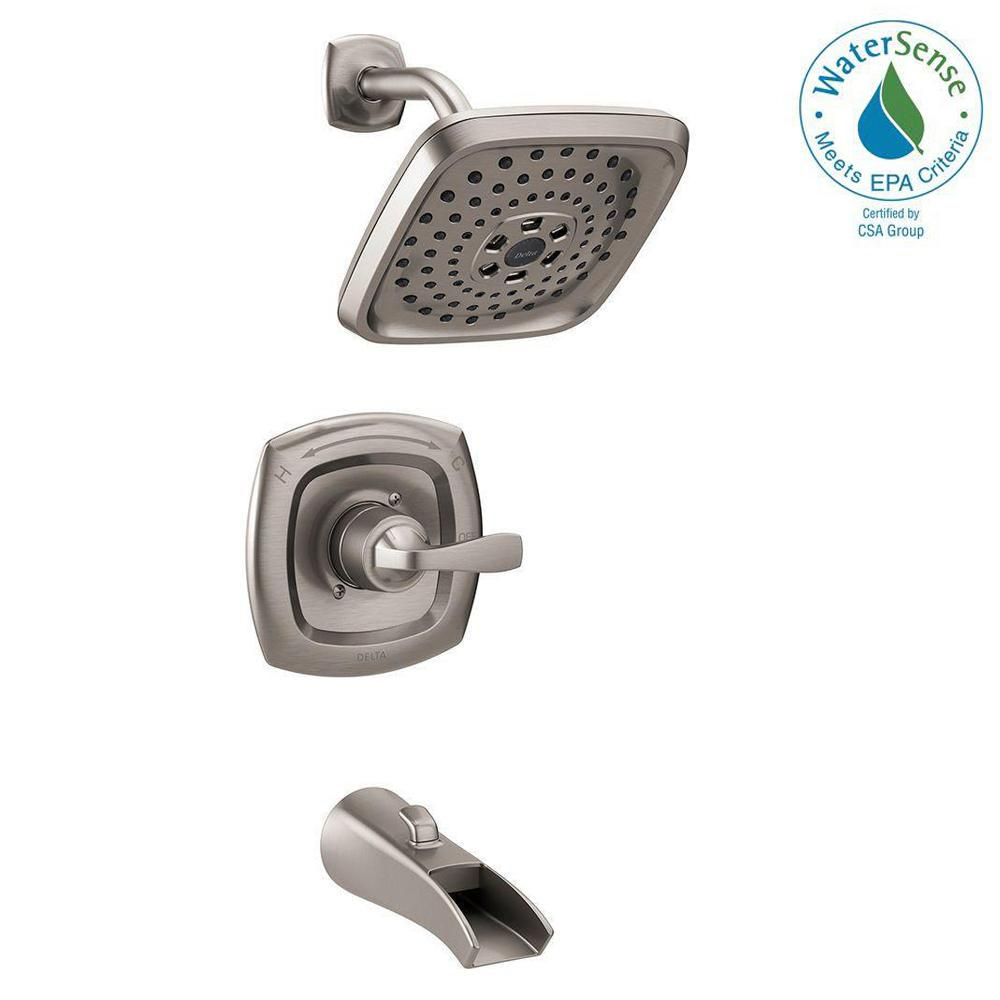 Delta Tolva H2Okinetic Single Handle 3 Spray Tub And Shower Faucet In  Brushed Nickel