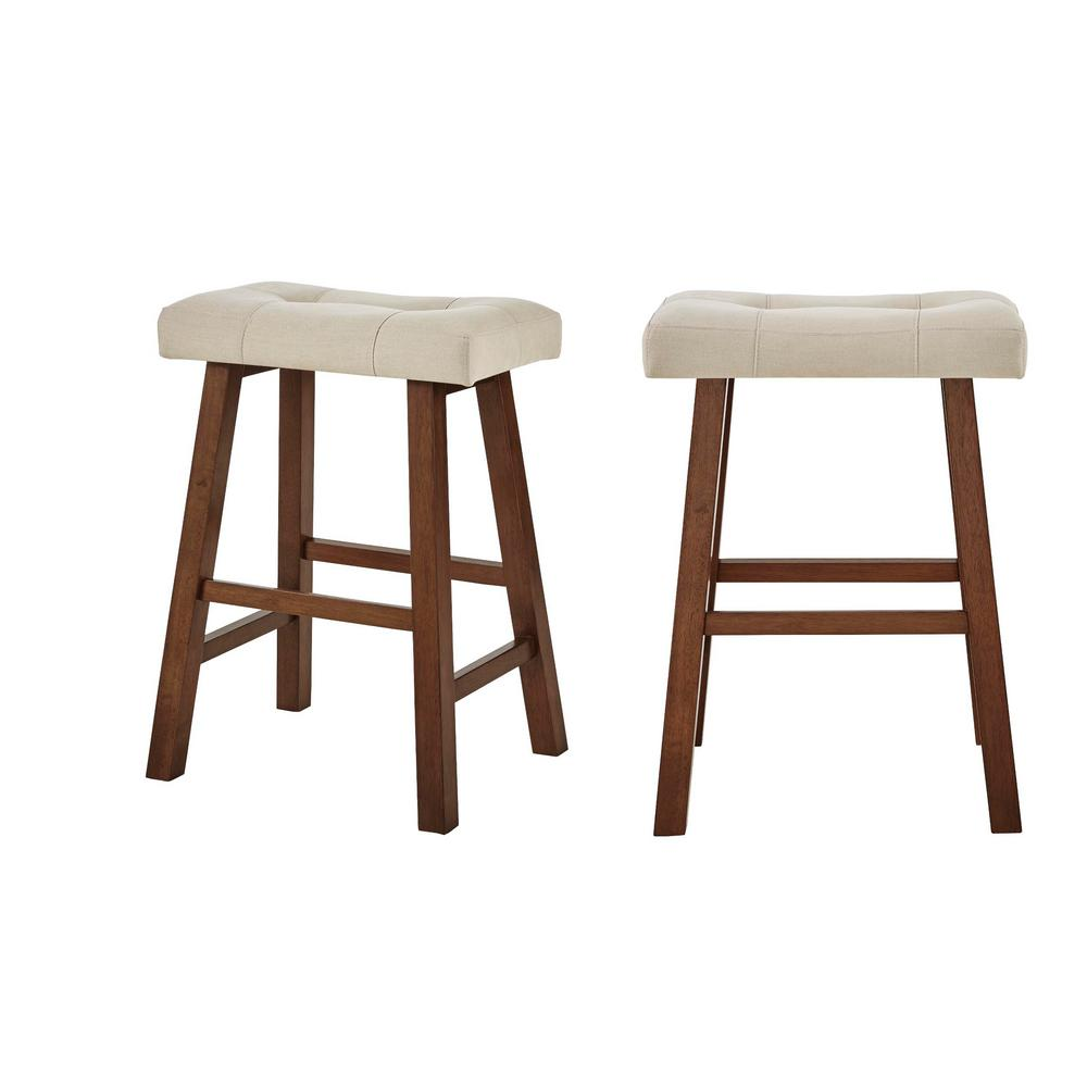 StyleWell Upholstered Counter Stool with Riverbed Brown Saddle Seat (Set of 2) (18.75 in. W x 25 in. H), Riverbed/Walnut was $99.0 now $59.4 (40.0% off)