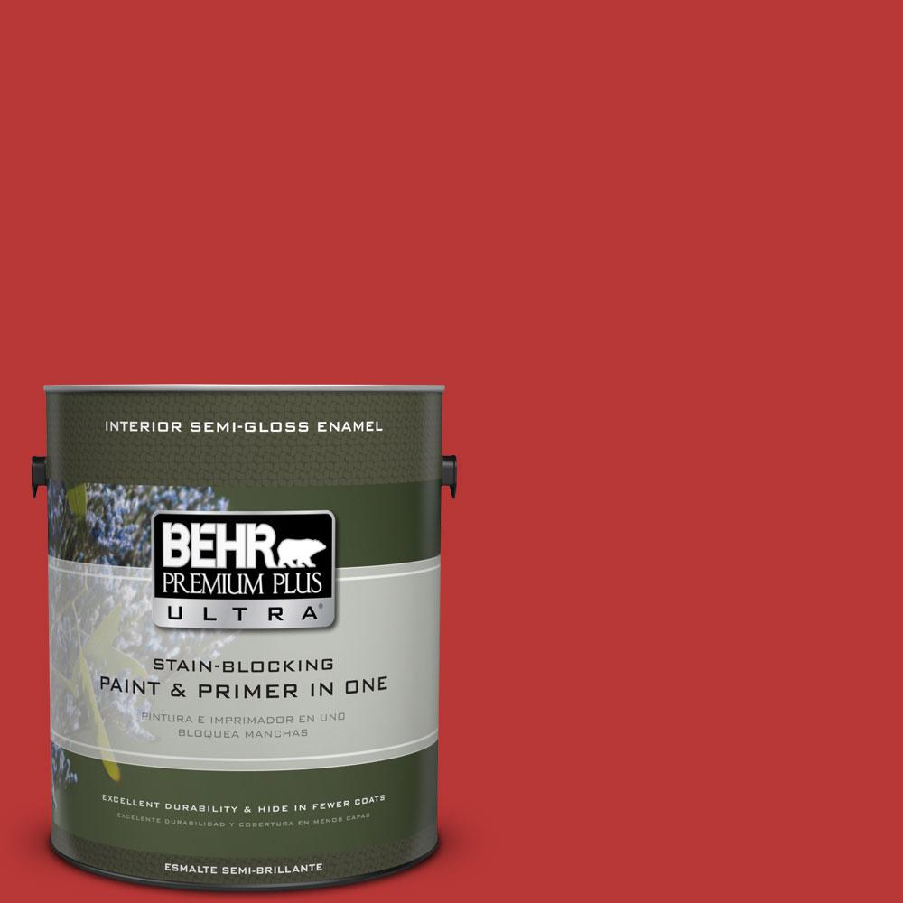 BEHR Premium Plus Ultra 1 gal. #S-G-170 Licorice Stick Semi-Gloss Enamel Interior Paint and Primer in One