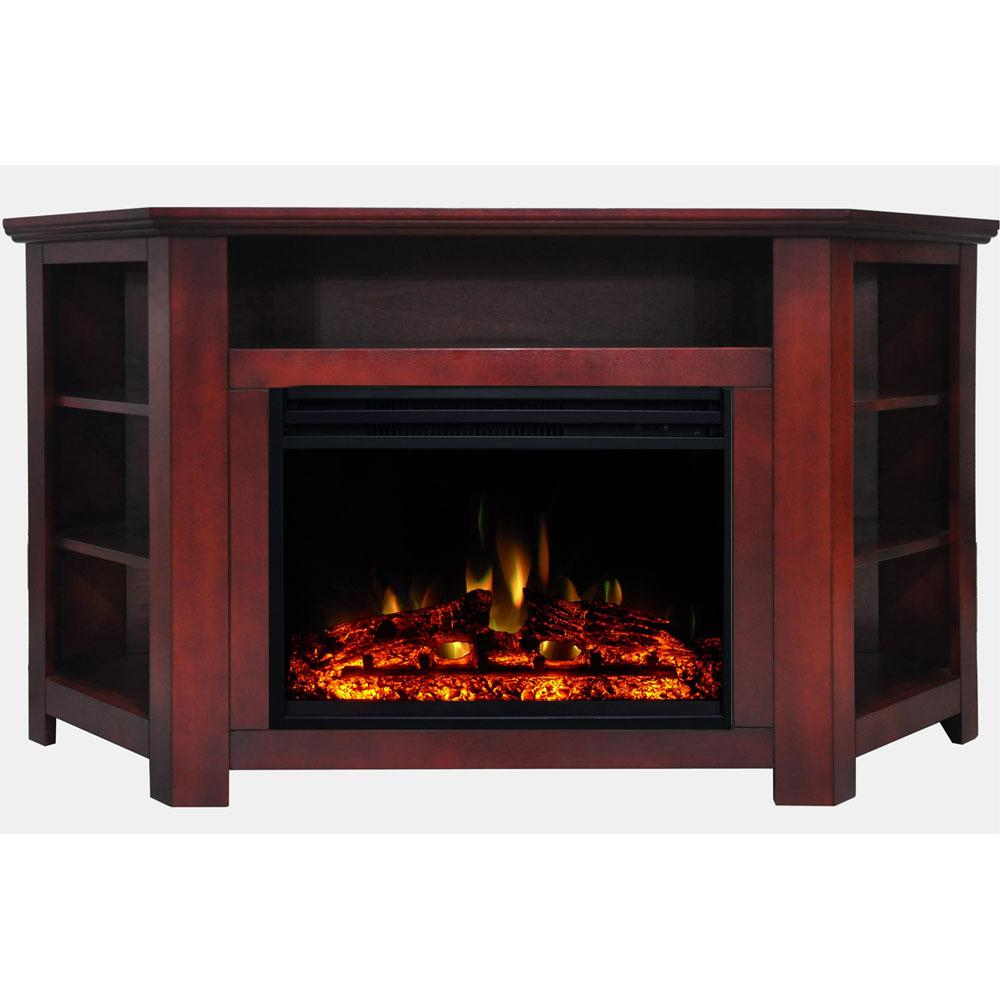 Incredible Cambridge Stratford 56 In Corner Electric Fireplace Heater Tv Stand In Cherry With Enhanced Log Display And Remote Home Interior And Landscaping Oversignezvosmurscom