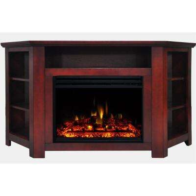Stratford 56 in. Corner Electric Fireplace Heater TV Stand in Cherry with Enhanced Log Display and Remote