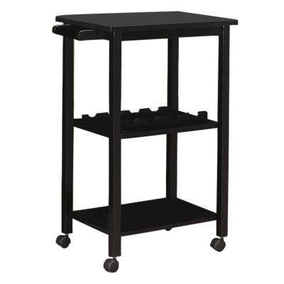 Black 3 Shelf with Towel Bar Serving Bar Cart on Wheels