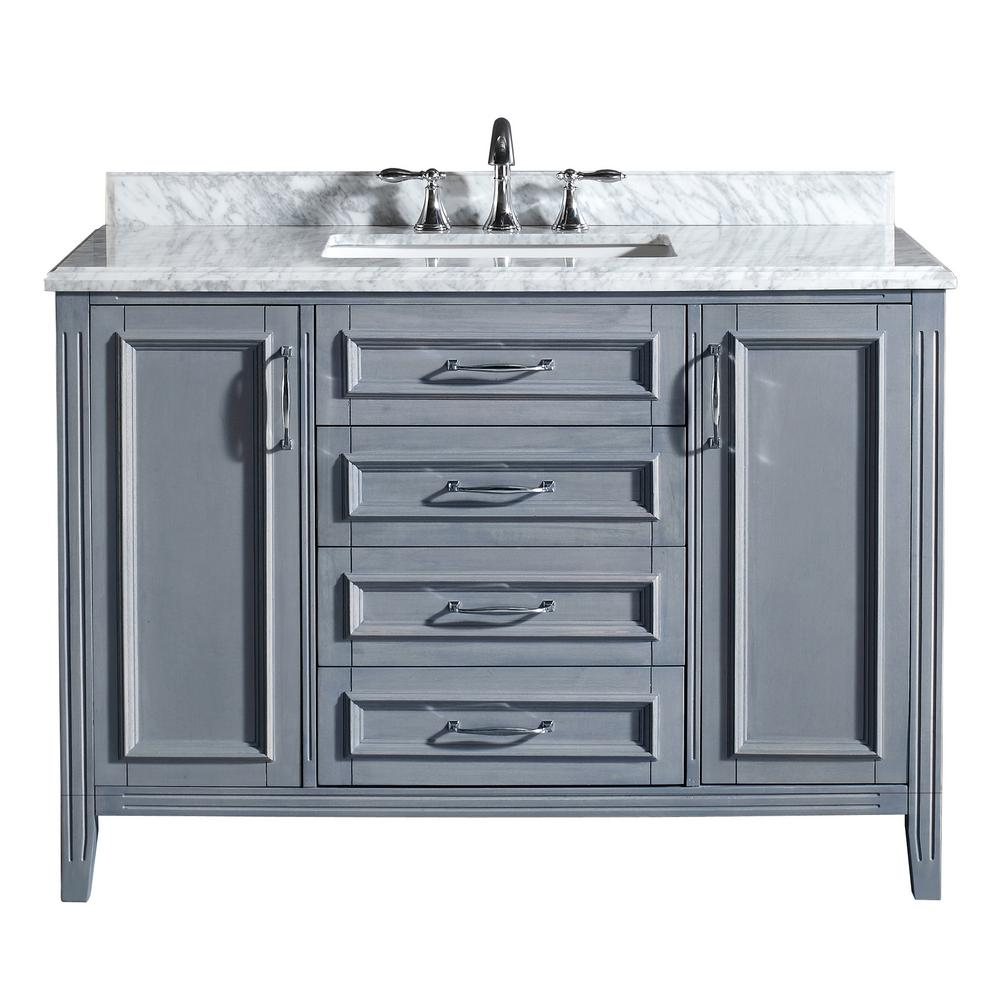 OVE Decors Daniel 48 in. Vanity in Gray with Marble Vanity Top in Carrara White