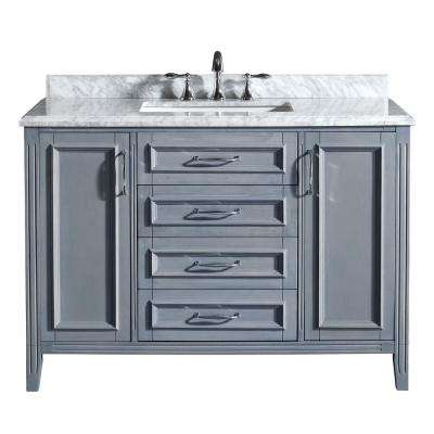 Vanity In Gray With Marble Top Carrara White