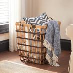 Square Natural Bamboo and Leather Decorative Basket with Leather Handles