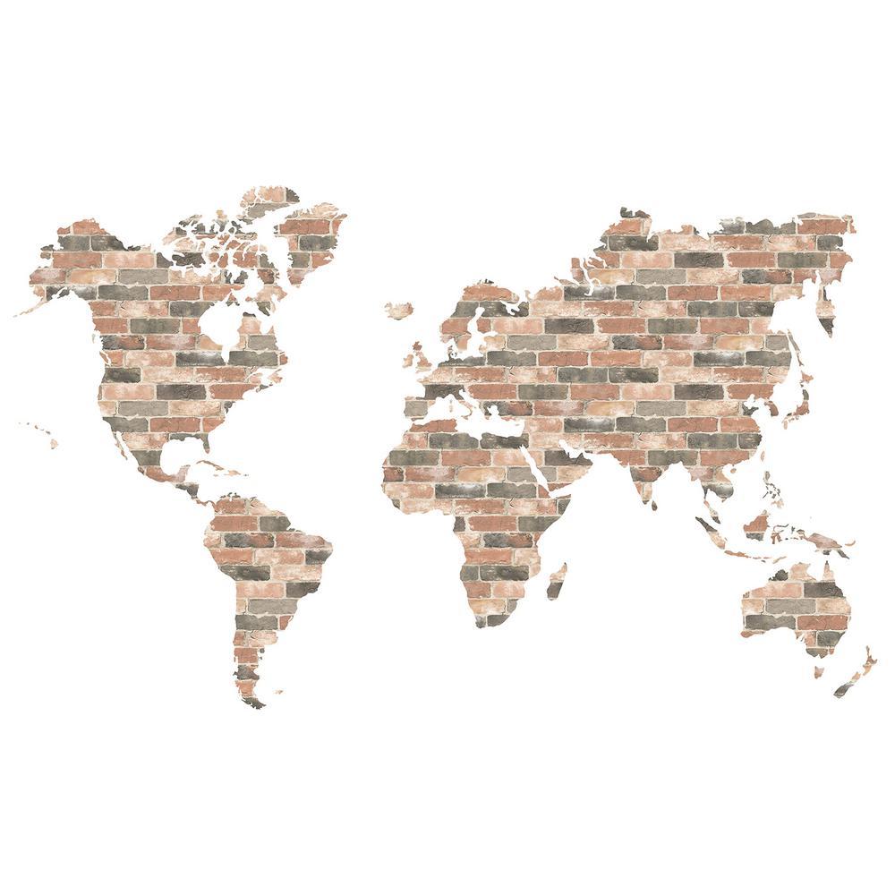 Brick Wall World Map Wall Art Kit Decal