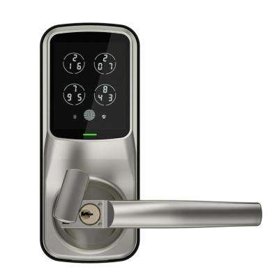 Secure Smart Touchscreen Keypad Door Latch Lock with Bluetooth, Satin Nickel