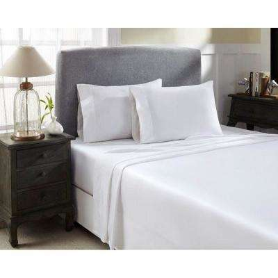 White T1500 Solid Combed Cotton Sateen Queen Sheet Set