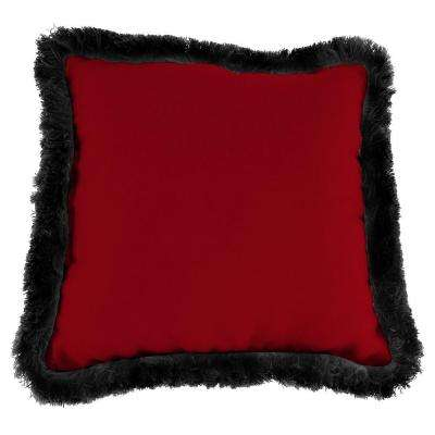 Sunbrella Canvas Henna Square Outdoor Throw Pillow with Black Fringe