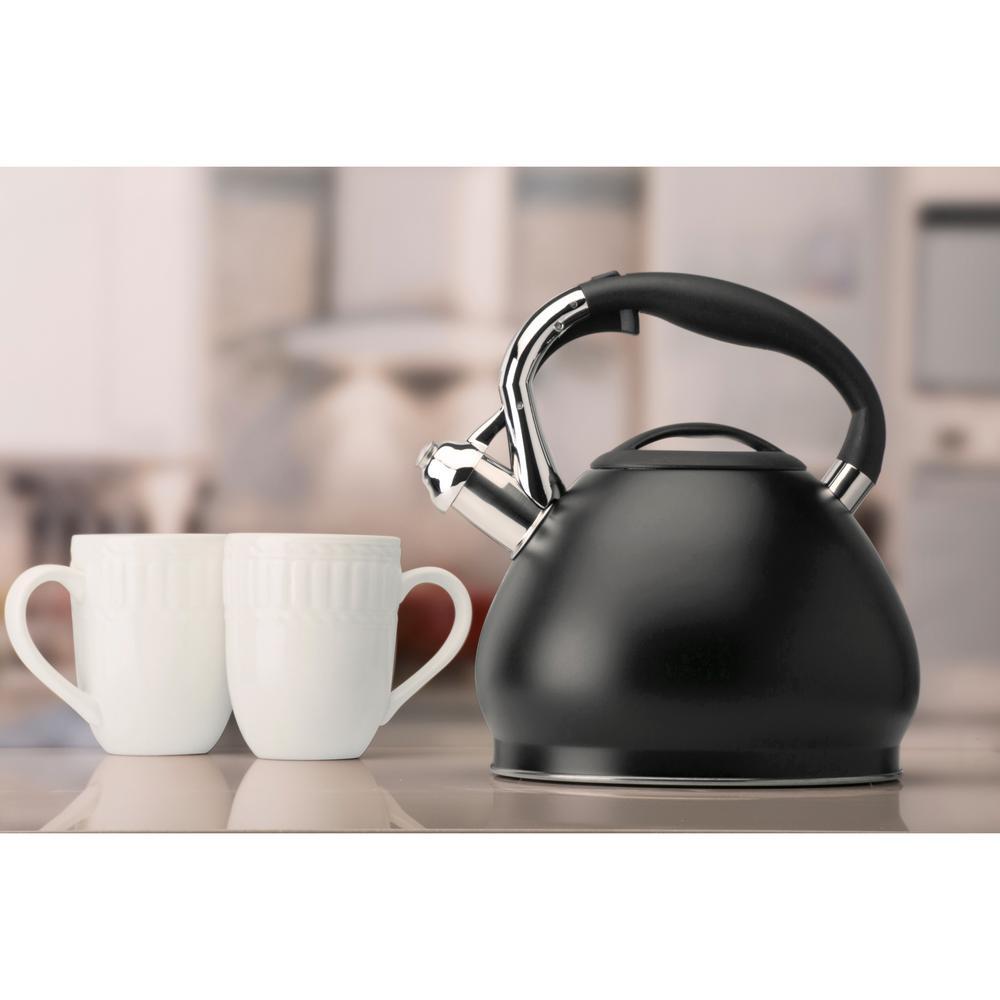 10-Cup Black Stainless Steel Tea Kettle