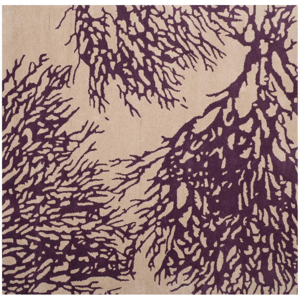 Bella Ivory/Purple 5 ft. x 5 ft. Square Area Rug