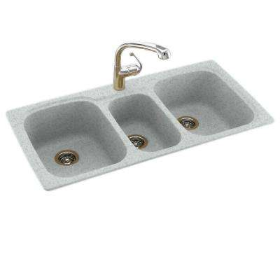 Drop-In/Undermount Solid Surface 44 in. 1-Hole 40/20/40 Triple Bowl Kitchen Sink in Tahiti Gray