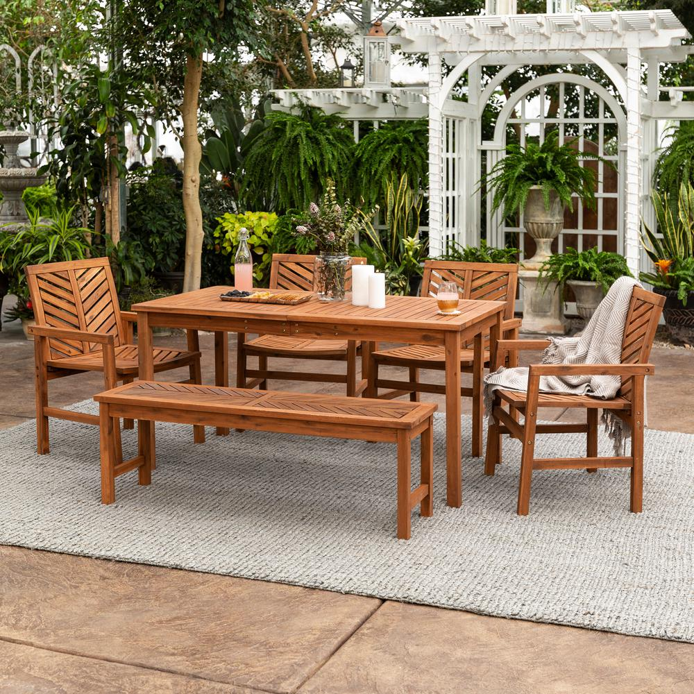 e339c0db05 Walker Edison Furniture Company Chevron Brown 6-Piece Wood Outdoor Patio  Dining Se