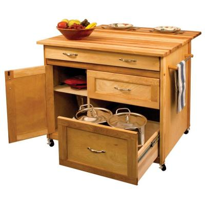 38 in. wide Butcher Block Kitchen Island with Deep Drawers