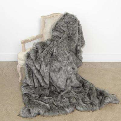 Wild Mannered 58 in. x 84 in. Silver Fox Faux Fur Throw
