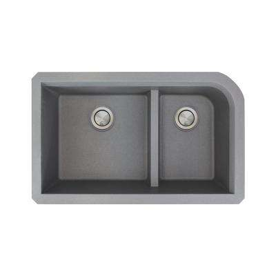 Radius Undermount Granite 32 in. 1-3/4 J-Shape Double Bowl Kitchen Sink in Grey