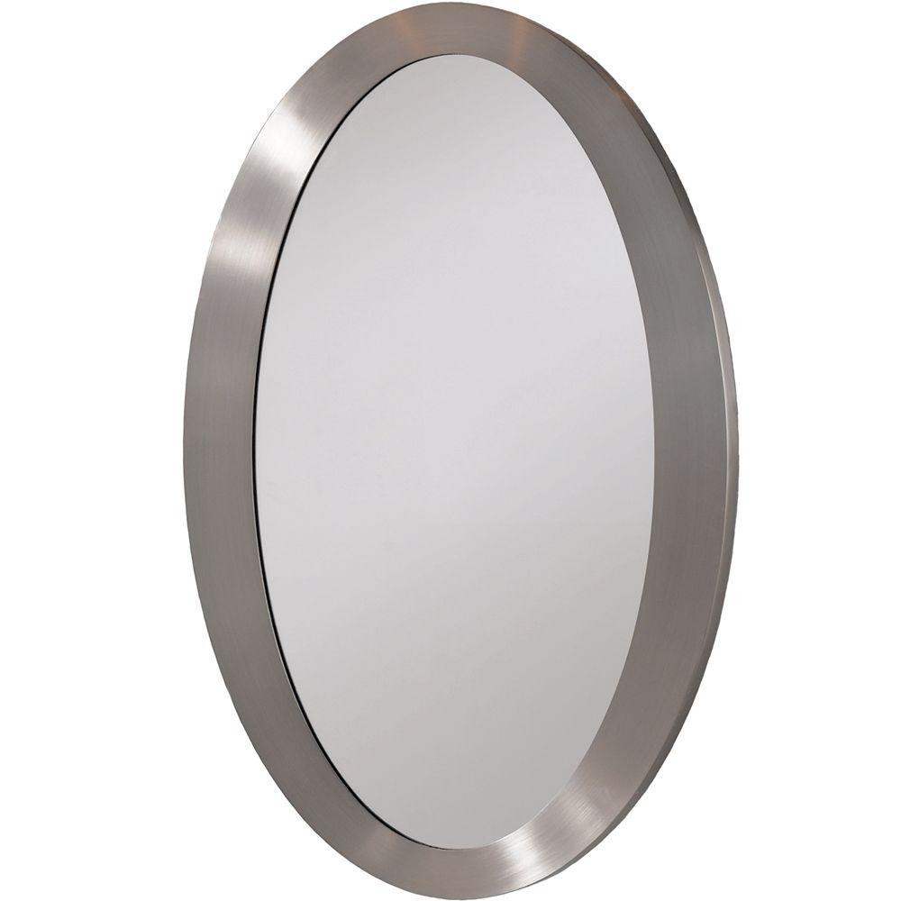 Erias Home Designs 27 in. x 18 in. Framed Wall Mirror in Nickel ...