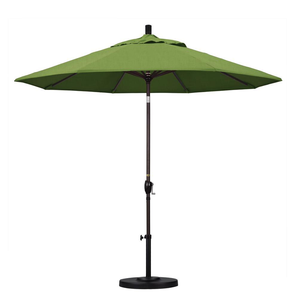 9 ft. Outdoor Market Patio Umbrella Bronze Aluminum Pole Aluminum Ribs Push Tilt Crank Lift in Sunbrella