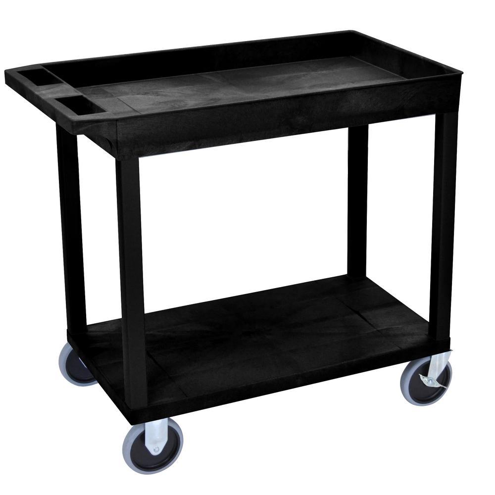 EC 32 in. W x 18 in. D 33.5 in. H 2-Shelf Utility Cart with 5 in. Casters in Black