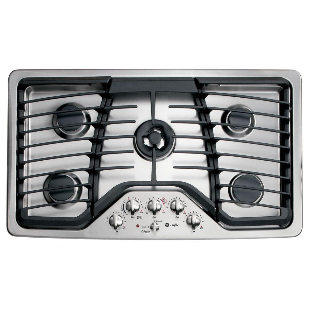 GE Profile 36 in. Gas Cooktop in Stainless Steel with 5 Burners