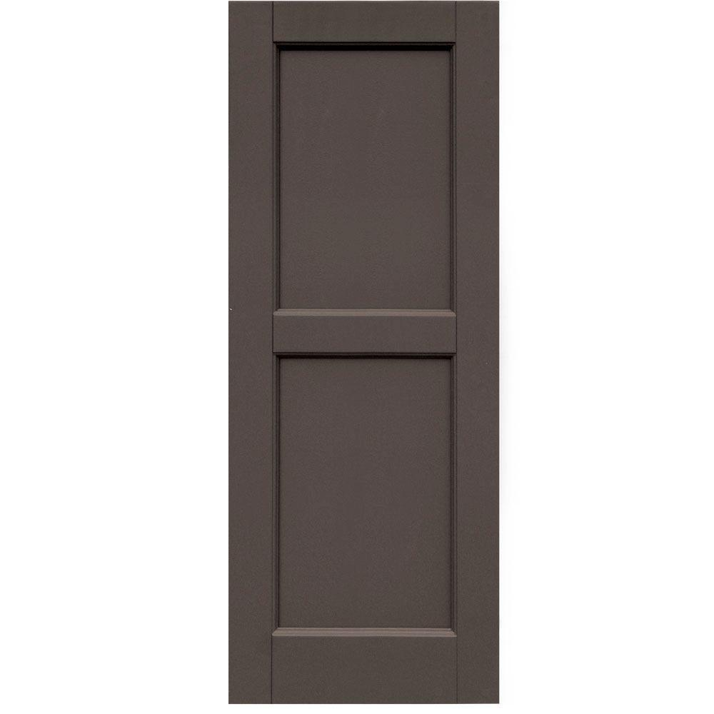 Winworks Wood Composite 15 in. x 39 in. Contemporary Flat Panel Shutters Pair #641 Walnut