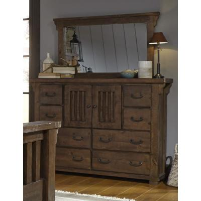 Forrester 8-Drawer Tobacco Dresser with Mirror